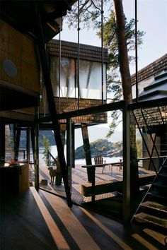 The site is a separate plot that was designated for a summer house many years ago. For different resons it was not sold until a few years ago. Unique Architecture, Interior Architecture, Islamic Architecture, Facade Design, House Design, House On Stilts, Glass House, House Goals, Picture Design