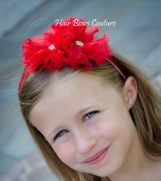 Red Flower Hair Bow Headband w/ U shape plastic by HairBowsCouture, $12.00