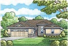 Contemporary Style House Plans - 1436 Square Foot Home, 1 Story, 2 Bedroom and 2 3 Bath, 2 Garage Stalls by Monster House Plans - Plan 10-1627