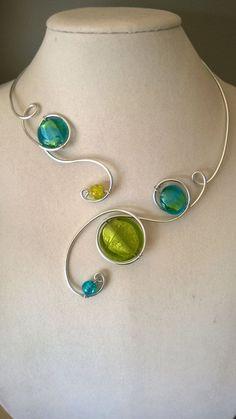 MODERN JEWELRY  Open necklace Alu wire by LesBijouxLibellule