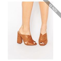 Lost Ink Rita Cross Front Mule Heeled Sandals