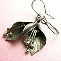 Sterling Silver Lily Flower Earrings - Dangle - Artisan Metalsmith Modern Jewelry