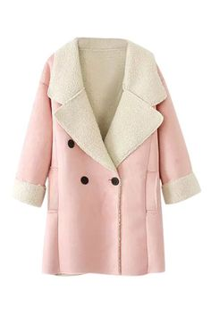 To find out about the Pink Lapel Long Sleeve Pockets Suede Coat at SHEIN, part of our latest Outerwear ready to shop online today! Faux Shearling Coat, Suede Coat, Faux Fur, Wool Coat, Suede Leather, Winter Jackets Women, Coats For Women, Clothes For Women, Boyfriend Coat