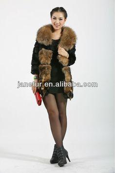 Look what I found Via Alibaba.com App: - real rabbit fur coat/jacket with raccoon dog fur cappa