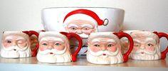 Vintage Santa Mug and Punch Bowl Set by SprinklesInTime on Etsy, $20.50