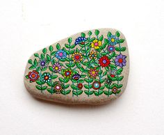 Hand Painted Stone Flower design