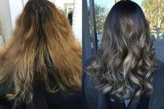 Before and after done by Ali Zabatta #hairbyaliz on Instagram hair by Ali zabatt Balliage Hair, Grey Ombre, Ash Blonde, Hair Trends, Ali, Long Hair Styles, Modern, Beauty, Instagram