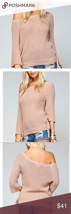 """Taupe Side Lace Sweater 🆕 Perfect for the chilly summer evenings and for the fall season ahead! Stunning knit sweater that has a feminine lace up details  on both sides featuring silver grommet hardware. You can totally wear this exposing one shoulder for a super cute chill vibe on casual days!  Measurements Length for all sizes 19"""" S-pit 16.5""""  M-pit 17.5"""" L-pit 18.5"""" alwaysEm Tops"""