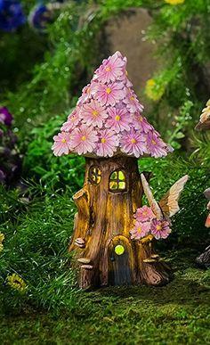 Amazon.com : New Creative Spring Petals Short Lighted Fairy House : Patio, Lawn & Garden