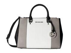 MICHAEL Michael Kors Center Stripe Sutton Medium Dressy Tote Bag in Pearl Grey White Black - Handbag