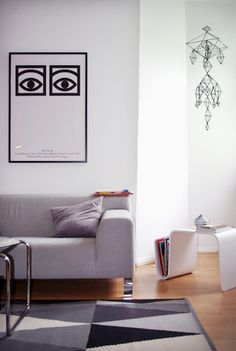Via Philuko | Ikea Stockholm Rug | Olle Eksell Poster | White and Grey