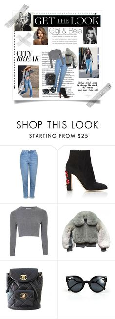"""Get the look:Gigi & Bella"" by greekgodness ❤ liked on Polyvore featuring Topshop, Dolce&Gabbana, Glamorous, Marc Jacobs, Chanel, Fendi, GetTheLook and celebritysiblings"