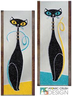 """Moderne Cat in Techinicolor - Aqua and Yellow"" Artisan Gravel Art. Mid century inspired decor by Kymm! Bang of Atomic Crush Design - Retro Kunst, Retro Art, Mid Century Wall Art, Mid Century Modern Decor, Cat Decor, Kitsch, Oeuvre D'art, Cat Art, Art Lessons"