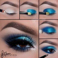 Motives® Khol Eyeliner - Engel - Make-up Ideen - Eye Make up Eye Makeup Steps, Blue Eye Makeup, Hair Makeup, Blue Eyeshadow For Brown Eyes, Blue Makeup Looks, Brown Eyed Makeup, Blue Eye Shadow, Make Up Brown Eyes, Mermaid Eye Makeup