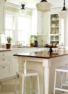Kitchen - Farmhouse Table Kitchen Island; In Love with the lights!!