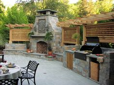 Outdoor fireplace w/built-in outdoor kitchen & pergola Outdoor Rooms, Outdoor Living, Outdoor Kitchens, Outdoor Photos, Built In Grill, Outside Living, Summer Kitchen, Outdoor Kitchen Design, Outdoor Entertaining