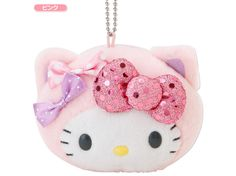 Hello Kitty Face Shaped Pouch Plush Doll Mascot Chain Key Ring Pink Ribbon SANRIO JAPAN