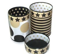 Desk Accessories Pencil Holder Set Desk: decorative paper, contact paper, sheet foam, recycled tin can