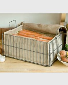 Root veggies like carrots and beets will stay fresh all winter and even grow sweeter in this storage bin. Just fill with layers of damp sand or sawdust, alternating with layers of carrots or beets, and put in a cool, dark place. Potatoes, turnips and squash can go right in the bin without sand.    Heavy wire frame with jute liner  Store root crops in any cool, dark area