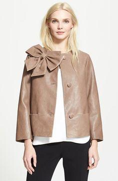 bow leather coat
