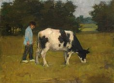 Anton Mauve - a farmer with his cow in the meadow; Medium: oil on canvas