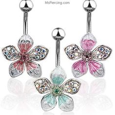 Tropical jeweled flower navel ring on MsPiercing