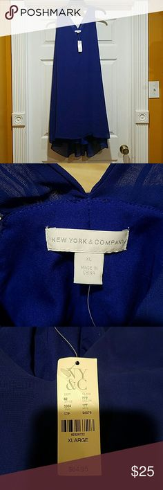 NWT New York & Company Deep Blue Dress This is a beautiful flowing dress from New York & Company. The color is deep blue and very sophisticated. Comment any questions and feel free to leave an offer:) #comingback New York & Company Dresses High Low