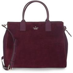 Kate Spade New York Lake Large Suede Satchel ($398) ❤ liked on Polyvore featuring bags, handbags, deep plum, purple suede handbag, satchel purses, purple satchel handbag, purple satchel and purple handbags
