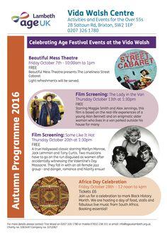Check the Autumn Programme of Vida Walsh Centre within #CelebratingAge Festival 2016!