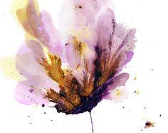Art Flower Painting Purple Wall Art Abstract by GalleryZooArt