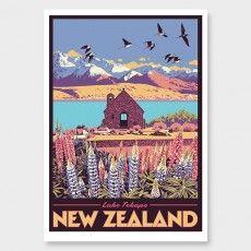 Lake Tekapo Art Print by Ross Murray Craft Beer Labels, Lake Tekapo, Tourism Poster, Nz Art, Vintage Art Prints, Ship Art, Vintage Travel Posters, Photographic Prints, Graphic Art