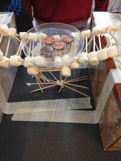 Building bridges with marshmallows- in the STEM Lab!