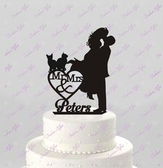 Wedding Cake Topper Silhouette Couple Mr & Mrs Personalized with Last Name and Two Cats, Acrylic Cake Topper [CT4c2]