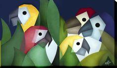 Reprodução da obra original impressa em tecido (tipo Giclée). <br>Chassi de madeira em forma de Painel (tecido na lateral, não necessita de moldura). <br>Edição limitada em 100 peças, assinadas pela artista com Certificado de Autenticidade. <br>Medidas: 100 x 80 x 4 cm. <br>Título: Araras <br>Estilo: Cubismo. <br>Pintora: Luzinete Micai. <br> <br>***Frete Grátis por tempo limitado***