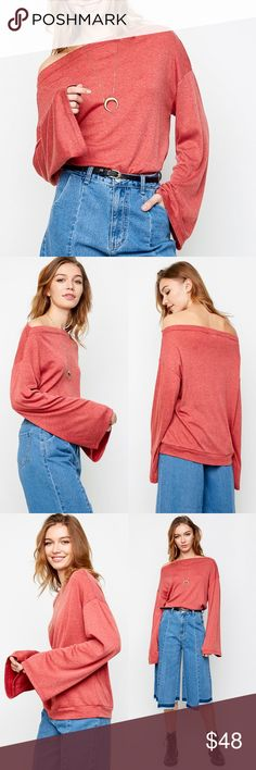 Off Shoulder Bell Sleeve Sweater Top Off shoulder sweater top with bell sleeves. This has an oversized fit and runs large. Brand new. NO TRADES DO NOT ASK. Bare Anthology Tops Sweatshirts & Hoodies