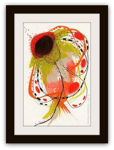 """Watercolor Botanical Painting In Orange and Chartreuse with Embroidery........ 6 x 9...""""P19"""" By Christina Romeo"""