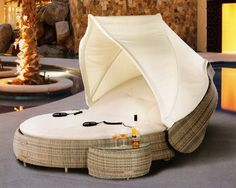 The Marcotte Collection All Weather Wicker Patio Furniture Day Bed/Chaise Lounge - oh wow, that looks so cozy Patio Lounge Chairs, Outdoor Lounge, Outdoor Living, Outdoor Spaces, Wicker Patio Furniture, Wicker Table, Cozy Furniture, Wicker Sofa, Wicker Baskets