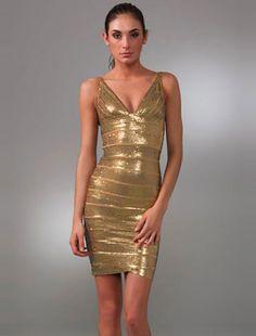 Herve Leger Gold Dress - Sequin Antique  $155.87