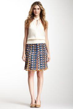 Tory Burch Kamille Pleated Silk Skirt on HauteLook
