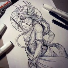 """Here's a beautiful #freya #goddess #sketch from @rockin.rabbit who creates all sorts of magically ethereal #tattoos and #drawings , and we are so happy to include her work in our """"Enchanted"""" book, which features 336 pages of fairy tale, folktale, fables, and mythology inspired artwork of many mediums. """"Enchanted"""" is currently ON SALE too...so get one while you can at www.OOSBooks.com"""