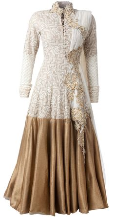 Draped dupatta beige anarkali set available only at Pernia's Pop-Up Shop.