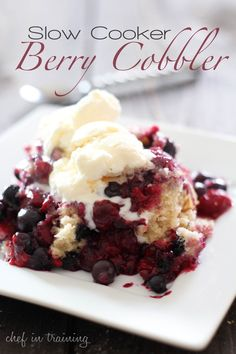 Slow Cooker Berry Cobbler!... I used a combination of Blueberries, raspberries, and strawberries for the 4 cups of berries....BUT I think that the batter needs some vanilla or more sugar in it because it had no real flavor....the rest of it was AWESOME....BUT remember to SPRAY the crockpot!