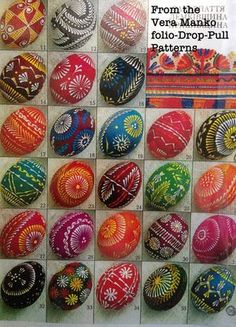 "Ukranian ""batik"" Easter eggs -- tutorials, tons of designs and patterns on this blog!"