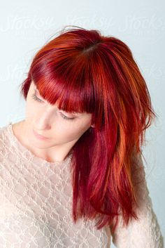 I could never pull it off, but love it! - red hair with plum and copper highlights