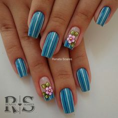 New Ideas Gel Manicure Diy Summer 2015 Daisy Nails, Flower Nails, Blue Nails, Acrylic Nail Shapes, Acrylic Nail Designs, Nail Art Designs, Beautiful Nail Art, Gorgeous Nails, Pretty Nails