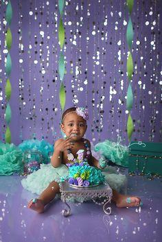 Under the Sea Smash Cake Session | Mermaid smash cake session | Purple &  Aqua Smash Cake Session | Mermaid First Birthday | First Birthday Photography session |  Under the sea First Birthday Party | CT Smash Cake Photographer Elizabeth Frederick Photography www.elizabethfrederickphotography.com