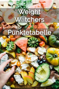 A large list of all foods with the associated pu Eine große Liste aller Lebensmittel mit den dazugehörigen Punkten. A large list of all foods with the corresponding points. Healthy Eating Tips, Healthy Nutrition, Clean Eating, Weith Watchers, Metabolic Diet, Food Waste, Diet Meal Plans, Diet Recipes, Vegetarian Recipes