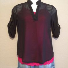 "Black Sheer Top NWOT Black sheer long sleeve high low top with roll up sleeves. Bust 46"", Length front 25"", Length back 31"". Tops"
