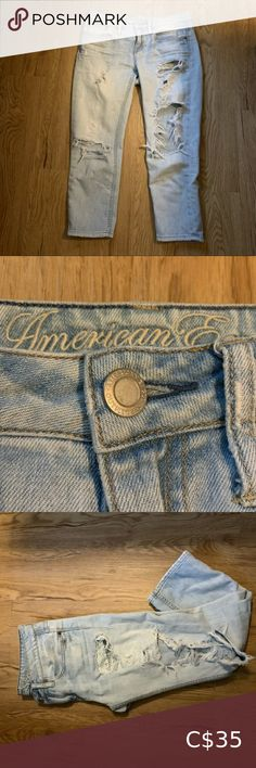 """AMERICAN EAGLE 🦅 LIGHT WASH DESTROYED JEANS American Eagle 🦅 Size 2 Light wash Destroyed Straight leg Destroyed on both front and back More of a """"boyfriend fit"""" Medium rise Excellent preowned condition American Eagle Outfitters Jeans Straight Leg Black Mom Jeans, Ripped Mom Jeans, Mom Jeans Shorts, Dark Blue Jeans, Dark Wash Jeans, American Eagle Kids, Plus Size Mom Jeans, Ae Outfitters, American Eagle Ripped Jeans"""