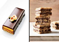 candy bars with hazelnut glaze and caramel pastry cream, left, by ...